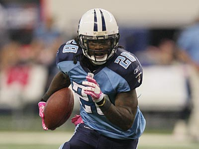 Chris Johnson is second in the NFL in rushing yards (596) and first in rushing touchdowns (7). (AP Photo/Mike Fuentes)