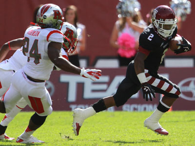 Matt Brown carries the ball in the first half of the Rutgers-Temple game on Saturday. (David Swanson/Staff file photo)