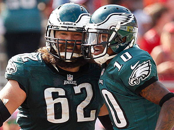 Eagles center Jason Kelce and wide receiver DeSean Jackson. (Ron Cortes/Staff Photographer)