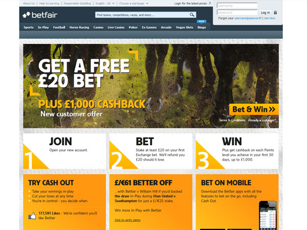 A screen grab from the Betfair.com web site.