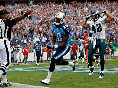 Titans receiver Kenny Britt had three touchdowns against the Eagles. (AP Photo/Frederick Breedon)
