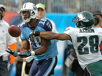Titans wide receiver Kenny Britt had three touchdowns in the Titans´ win. (Clem Murray/Staff Photographer)