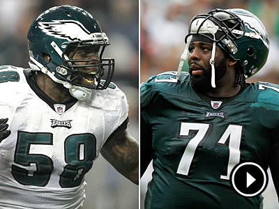 Trent Cole (left) and Jason Peters returned to practice today. (Staff and AP Photos)