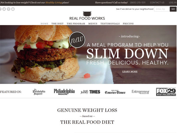 A screen grab from the web site realfoodworks.com.