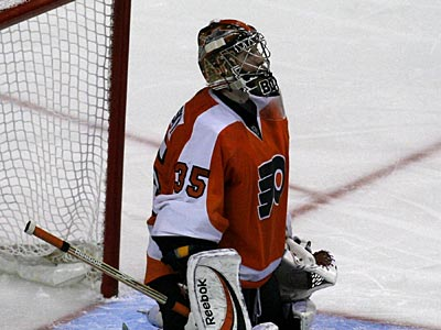 Rookie goalie Sergei Bobrovsky gets the start for the Flyers tonight against the Sabres. (AP Photo/H. Rumph, Jr.)