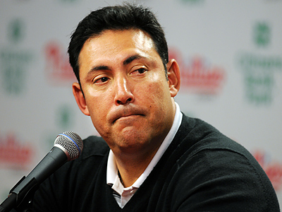 Phillies GM Ruben Amaro Jr. addressed the media today at Citizens Bank Park. (Sarah J. Glover / Staff Photographer)