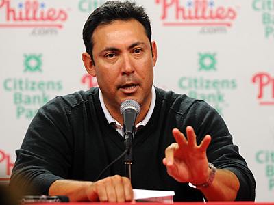 Phillie GM Ruben Amaro Jr. addressed the media today at Citizens Bank Park. (Sarah J. Glover / Staff Photographer)