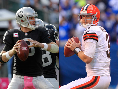 Got the bye-week blues? Carson Palmer and Brandon Weeden could be solid waiver-wire pickups. (AP Images)