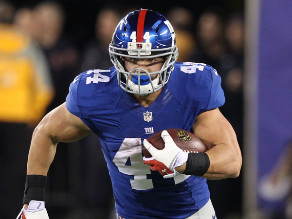 New York Giants´ Peyton Hillis (44) rushes during the second half of an NFL football game against the Minnesota Vikings Monday, Oct. 21, 2013 in East Rutherford, N.J. (Peter Morgan/AP)