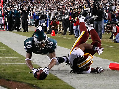 DeSean Jackson dove over the goal line for his second touchdown of the night, a 57-yard reception from Donovan McNabb. (Ron Cortes/Staff Photographer)