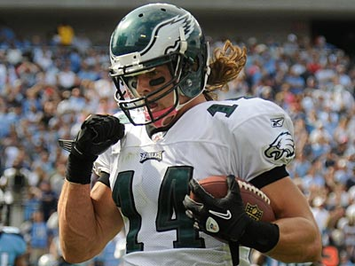 Riley Cooper caught three balls for 51 yards, including his first career receiving touchdown. (Clem Murray / Staff Photographer)
