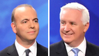 Dan Onorato [left] and Tom Corbett face off for governor today.