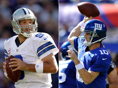Eli Manning and the Giants face off against Tony Romo and the Cowboys. (AP Photos)