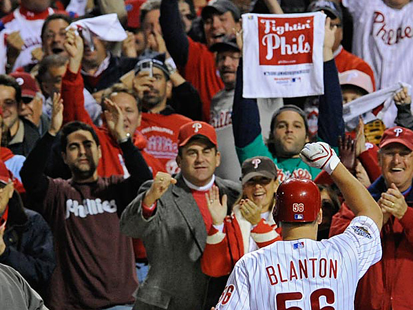 Joe Blanton comes back to the dugout after hitting a solo home run in the fifth inning of Game 4 of the World Series at Citizens Bank Park on Sunday October 26, 2008.