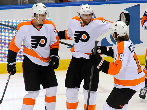 Flyers forwards Brayden Schenn (left), Jakub Voracek (center) and Scott Hartnell (right). (Kathy Kmonicek/AP)