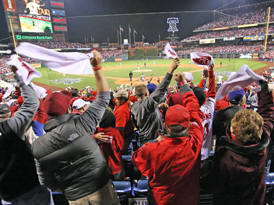 Did Phillies fans go too far in their exuberance, by bashing and terrorizing fans of the Tampa Bay Rays in Citizens Bank Park? A St. Petersburg Times columnist sure thinks so. (David Maialetti / Staff Photographer)