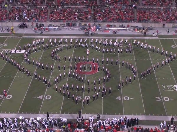 Ohio State´s marching band forms the Superman crest during their halftime performance of a game against Penn State on October 26, 2013. (Screen shot via YouTube)
