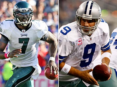 Michael Vick and the Eagles host Tony Romo and the Cowboys on Sunday night. (Staff and AP Photos)