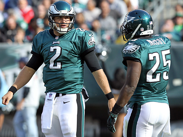 Eagles quarterback Matt Barkley and running back LeSean McCoy. (Yong Kim/Staff Photographer)