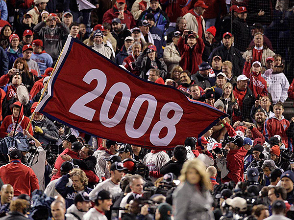Phillies celebrate the 2008 World Series win at Citizens Bank Park on Wednesday, October 29, 2008.