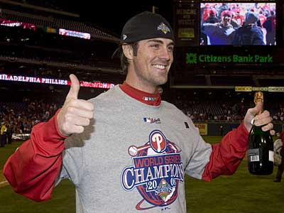 Phillies starter Cole Hamels celebrates the team´s World Series victory over the Rays. Hamels won four games during the postseason. (Chris O´Meara / AP)