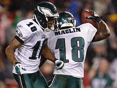 Jeremy Maclin (right) defended teammate DeSean Jackson´s sideline behavior during the Seahawks game. (Ron Cortes/Staff File Photo)