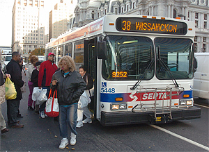 A SEPTA bus outside Philadelphia City Hall.<br />