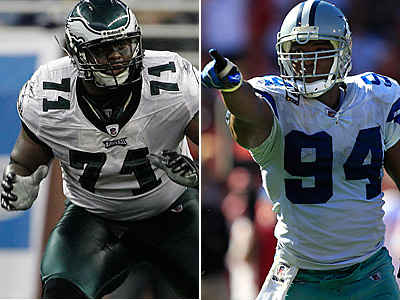 Can Jason Peters (left) contain DeMarcus Ware? (AP Photos)