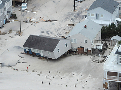 A Long Beach Island house washed off foundation by Sandy in October 2012.
