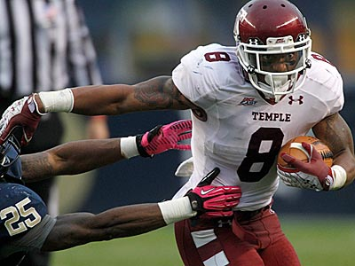 Temple running back Montel Harris (8) breaks a tackle during Temple´s loss to Pitt last week. (Keith Srakocic/AP)