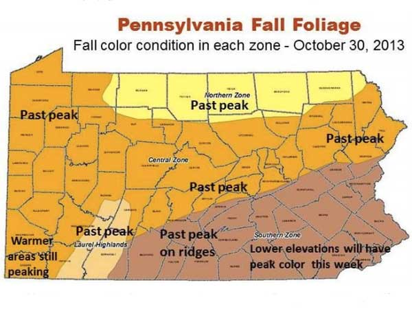 This map from the Pennsylvania Department of Conservation and Natural Resources shows the status of fall foliage throughout the state.