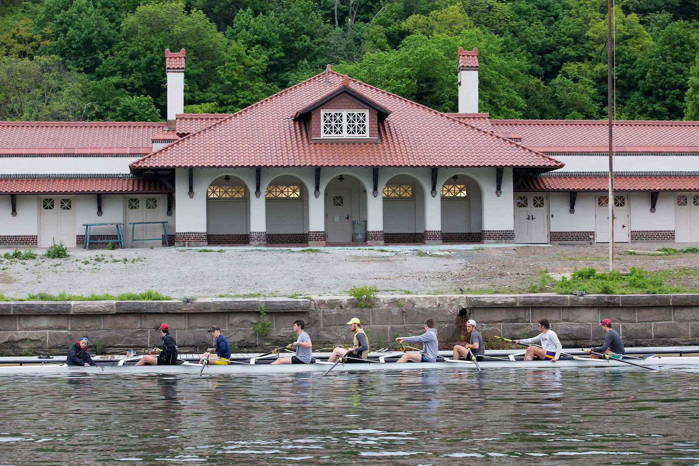 Temple Men´s Crew team at their newly renovated boathouse, on the Schuykill River, in Philadelphia, Wednesday, May 10, 2017.