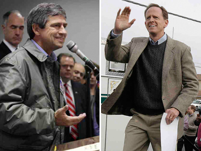 Left: Democrat Joe Sestak campaigns Friday for the U.S. Senate in Throop, Pa. (Michael J. Mullen / Scranton Times & Tribune) Right: Republican Pat Toomey campaigns Saturday. (Akira Suwa / Staff)