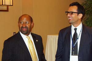 Mayor Michael Nutter with TC Chan Center founder Dr. Ali Malwaki at the Symposium on Thursday.