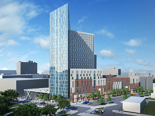 The proposed tower will be built at the corner of 34th Street and Lancaster and Lancaster Avenue, at the site of Hess Laboratory and a parking lot. (Artist´s rendering courtesy of Drexel University)