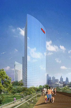 An artist´s rendering of the FMC Tower at Cira Centre South with the view looking northeast. (PR Newswire / Brandywine Realty Trust)