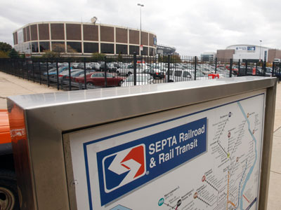 A SEPTA transit map is shown outside the Pattison subway station near the Wachovia Spectrum. (AP Photo/Matt Slocum)