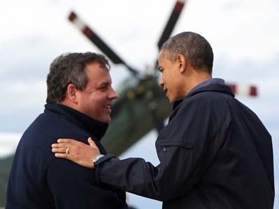 Governor Chris Christie greets President Barack Obama before an ariel tour of the damage in New Jersey from Hurricane Sandy at Atlantic City Airport in Atlantic City, N.J. on Wednesday, Oct. 31, 2012. (Governor´s Office/Tim Larsen)