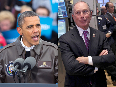 President Barack Obama (left) is being endorsed for re-election by New York Mayor Michael Bloomberg. (AP Photos)