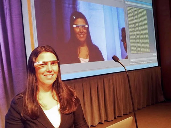 This undated photo shows Cecilia Abadie a software developer from Temecula, Calif., during a presentation. (AP Photo courtesy of Cecilia Abadie)