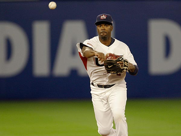 United States´ short stop Jimmy Rollins throws to first base during a game against the Netherlands in the second round of the World Baseball Classic in Miami, Sunday, March 15, 2009. (AP Photo/Lynne Sladky)