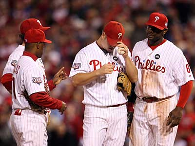 Joe Blanton kept it close through six innings, but Brad Lidge allowed three runs in the ninth inning during last night´s loss. (Yong Kim / Staff Photographer)