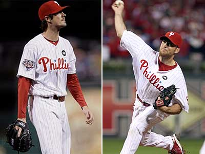 Charlie Manuel gave votes of confidence to Cole Hamels and Brad Lidge. (File photos)