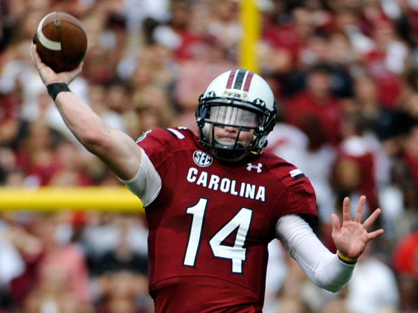 South Carolina quarterback Connor Shaw (14) looks to throw the ball against Mississippi State during the first half of an NCAA football game, Saturday, Nov. 2, 2013, in Columbia, S.C. (Rainier Ehrhardt/AP)
