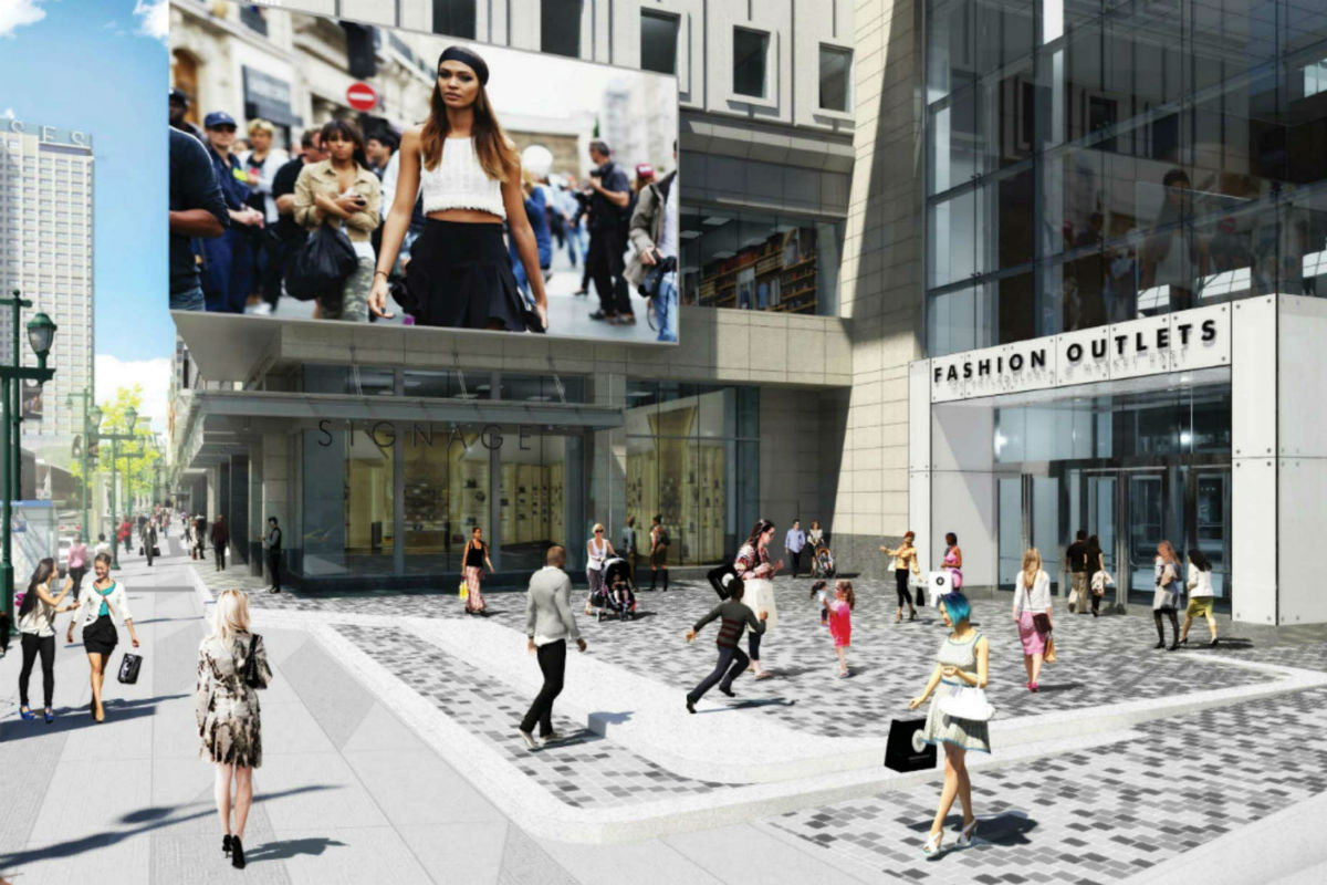 An artist´s rendering of the proposed main entrance at Ninth and Market after redevelopment into the Fashion Outlets of Philadelphia.