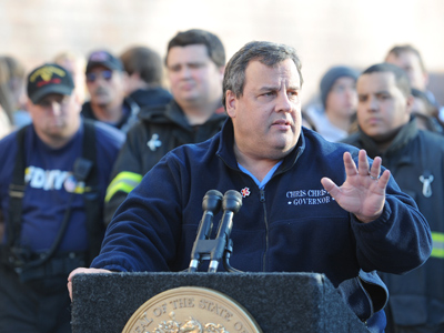Gov. Chris Christie holds a press conference outside the Joseph Bolger Middle School in Keansburg, N.J., where he spoke to residents Monday, Nov. 5, 2012, a week after Hurricane Sandy devastated New Jersey.    ( CLEM MURRAY / Staff Photographer )