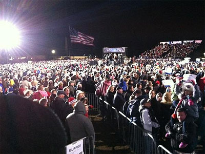 The crowd at Mitt Romney´s rally Sunday in Bucks County was electric. (Tom Fitzgerald / Staff)