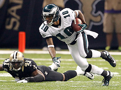 Eagles wide receiver DeSean Jackson (10) caught three passes for 100 yards and a touchdown against the Saints. (Ron Cortes/Staff Photographer)