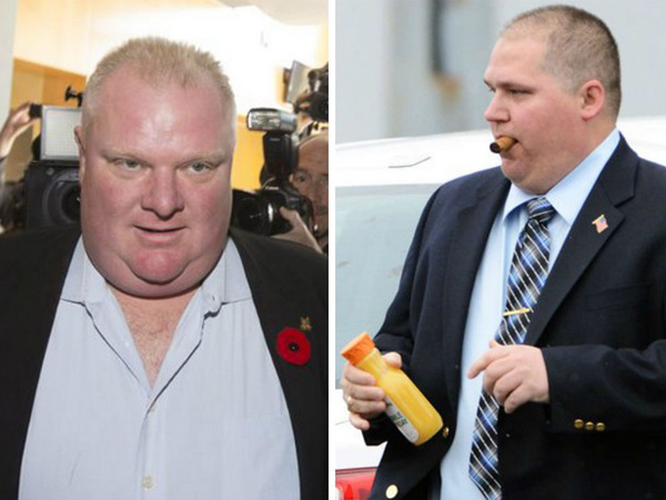 Separated at birth? Toronto Mayor Rob Ford (left); Marcus Hook Mayor Jay Schiliro (right).