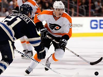 Flyers forward James van Riemsdyk is out indefinitely with a concussion. (Tom Mihalek/AP)